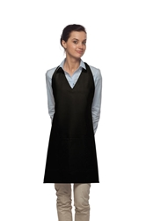 V-Neck Tuxedo Apron w/ Center Divided Pocket